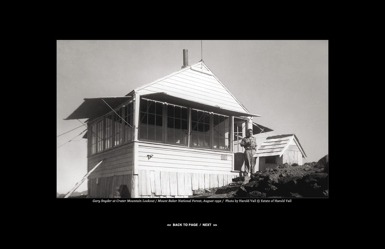Gary Snyder at Crater Mountain Lookout / Mount Baker National Forest, August 1952 /  Photo by Harold Vail © Estate of Harold Vail