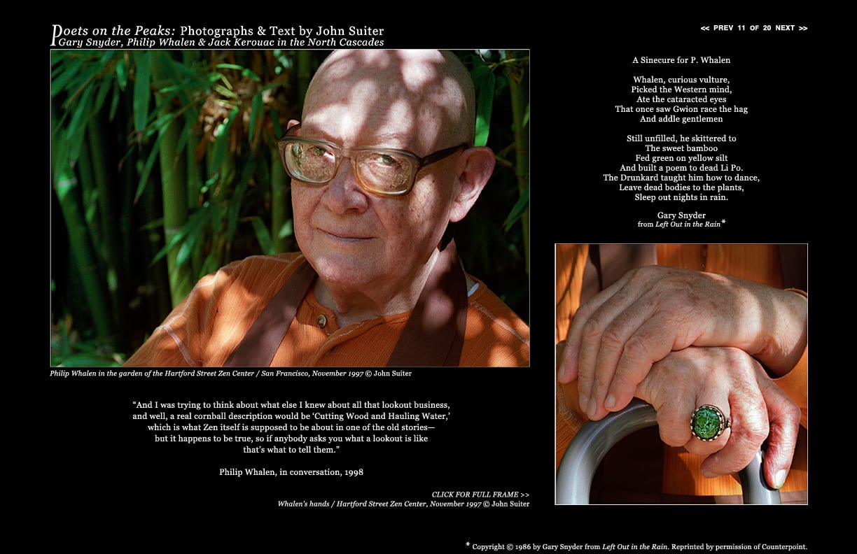 Philip Whalen in the garden of the Hartford Street Zen Center / San Francisco, November 1997 © John Suiter