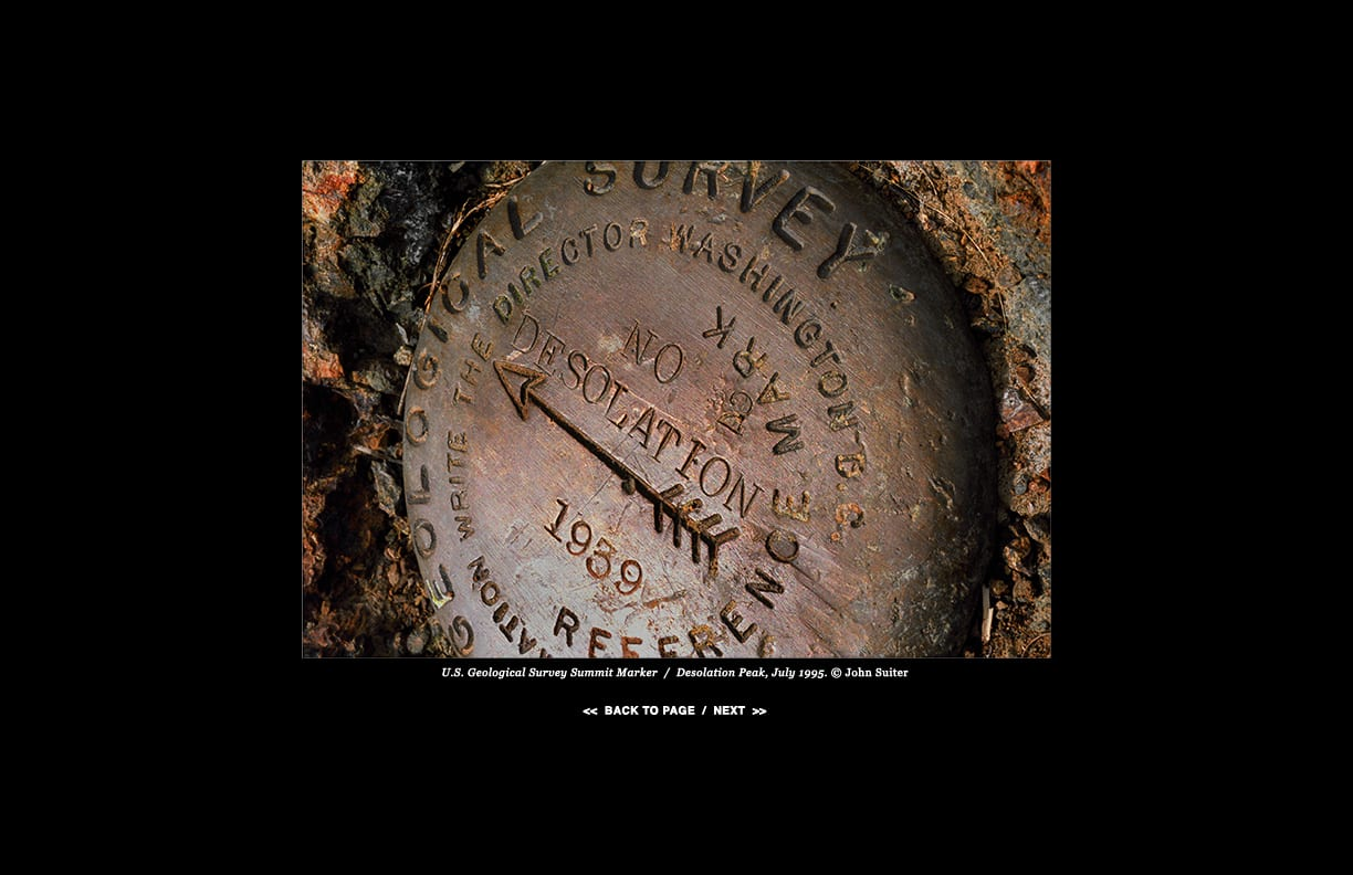 U.S. Geological Survey Summit Marker  /  Desolation Peak, July 1995. © John Suiter