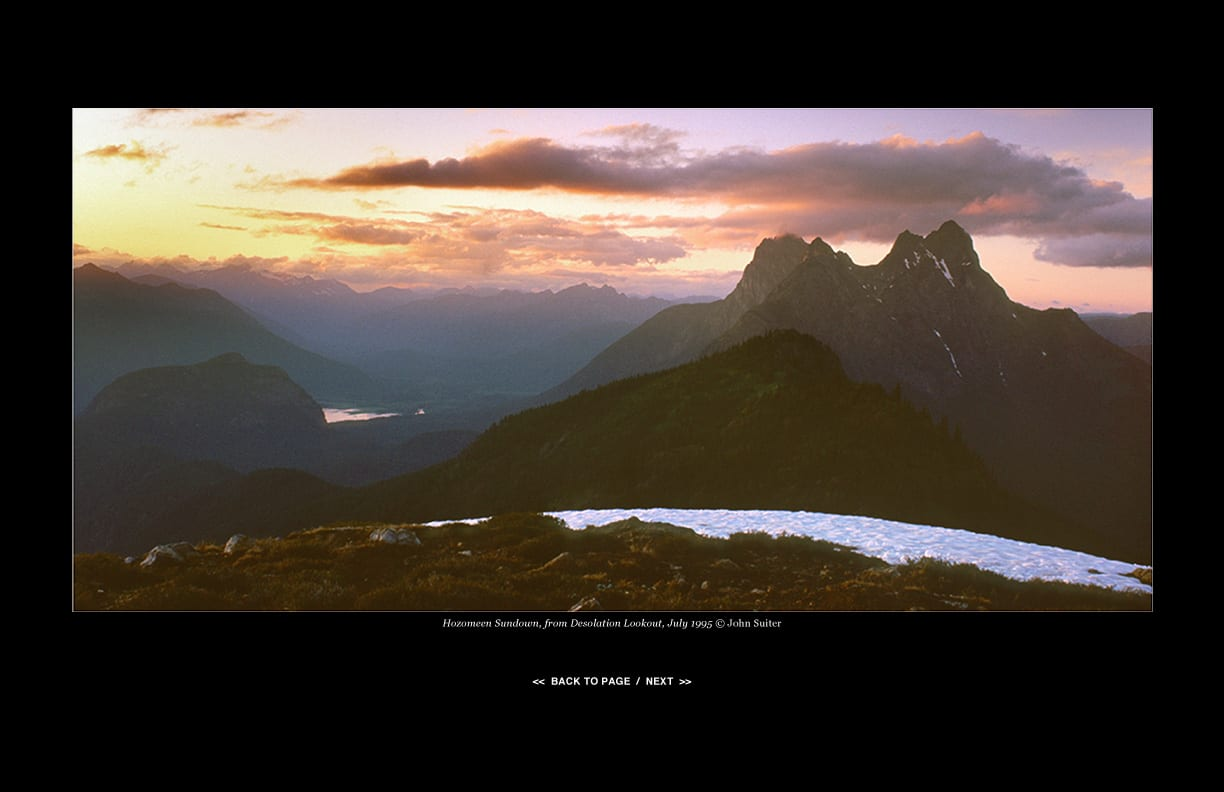 Hozomeen Sundown, from Desolation Lookout, July 1995 © John Suiter