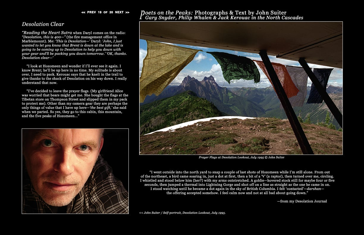 John Suiter / Self-portrait, Desolation Lookout, July 1995. Prayer Flags at Desolation Lookout, July 1995 © John Suiter