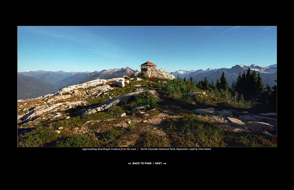 Approaching Sourdough Lookout from the west  /   North Cascades National Park, September 1998 © John Suiter