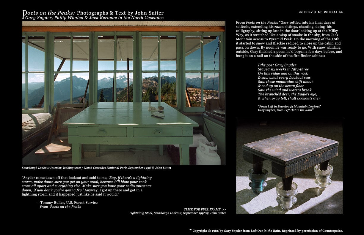 Sourdough Lookout Interior, looking west / North Cascades National Park, September 1998 © John Suiter