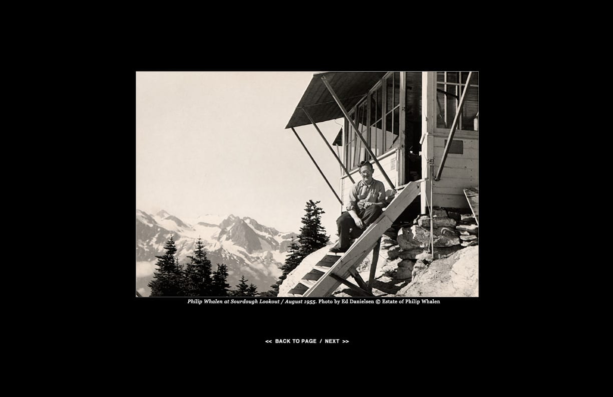 Philip Whalen at Sourdough Lookout / August 1955. Photo by Ed Danielsen © Estate of Philip Whalen